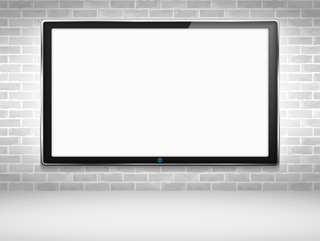 flat screen tv: LCD TV on the wall