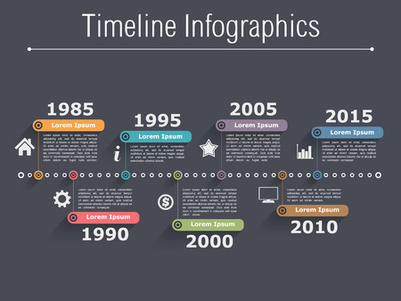 Infographies Chronologie modèle de conception Banque d'images - 34396837