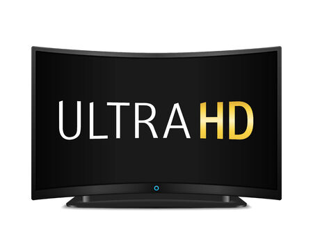 Ultra HD TV with curved screen Vector