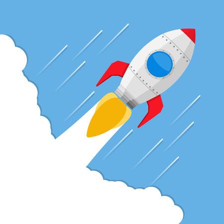 Flying rocket Vektorové ilustrace
