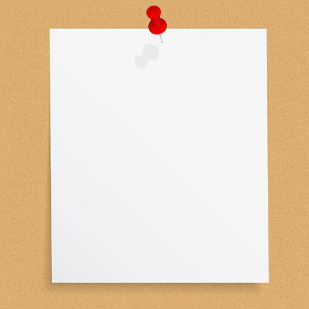 掲示板に押しピンで白紙のメモ