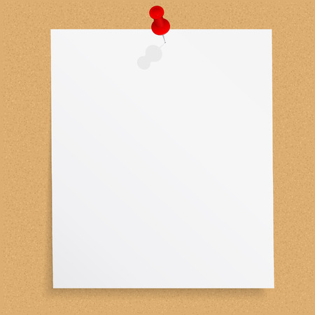 Blank paper note with push pin on bulletin board