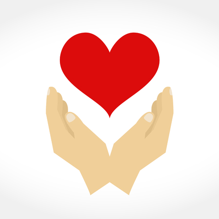 gentleness: Hands with heart, design elements for your logo, flat design