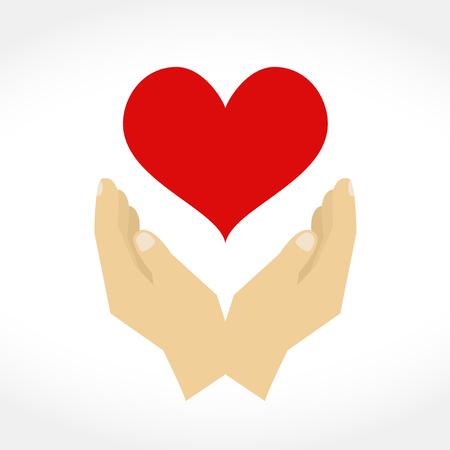 manos logo: Manos con el corazón, elementos de diseño para su logotipo, diseño plano Vectores