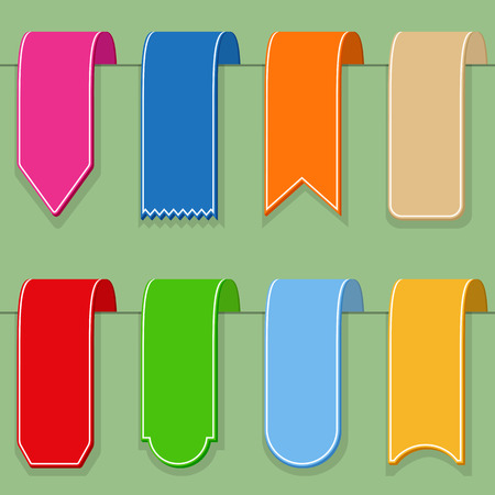 Colored ribbons (or bookmarks), flat design Vector