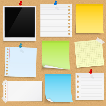 Paper notes, sticky papers an photo frames on bulletin board Vector