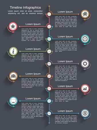 Timeline infographics design template Çizim