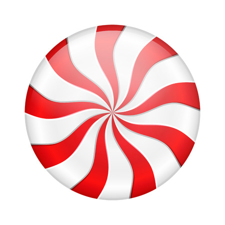 Round peppermint candy on white background