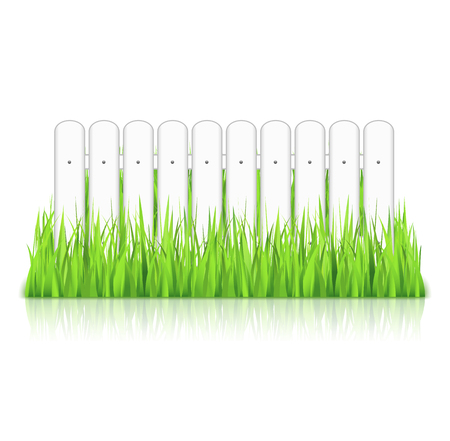 White fence in grass Vector