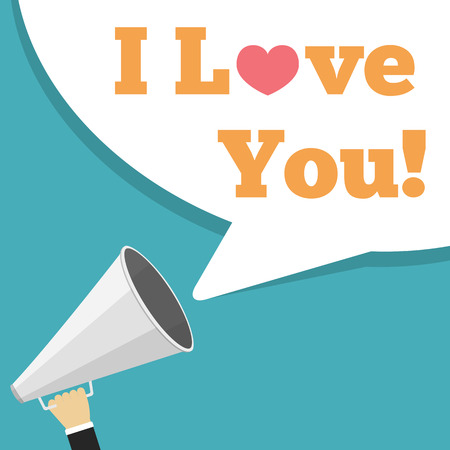 Megaphone with words  I Love You Vector