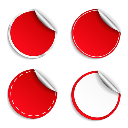 sale icon: Blank red round stickers with curl