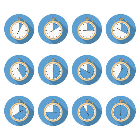 time clock: Stopwatch with different time, flat design icons Illustration