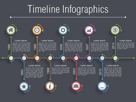 Timeline infographics design template with nine elements
