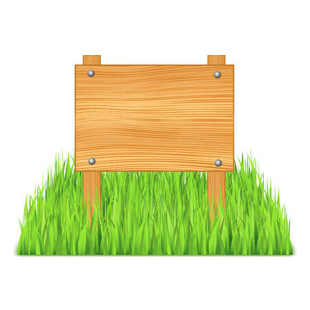 Wooden board in grass Vector