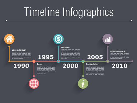 data flow: Timeline infographics design template Illustration