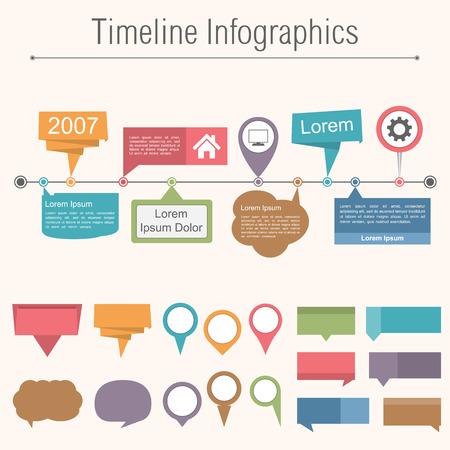 mapa de procesos: Plantilla de diseño de infografías línea de tiempo con diferentes elemnts para tu sitio Vectores