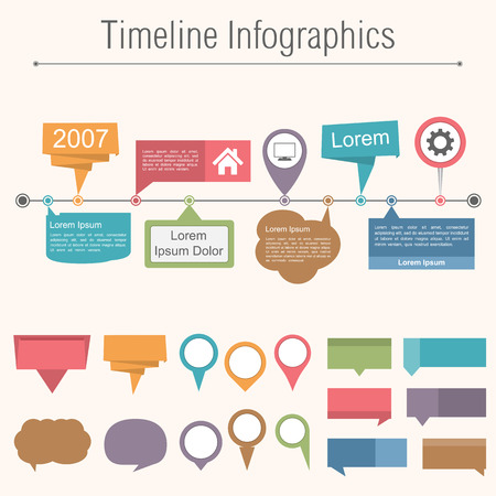 Timeline infographics design template with different elemnts for your content Vector