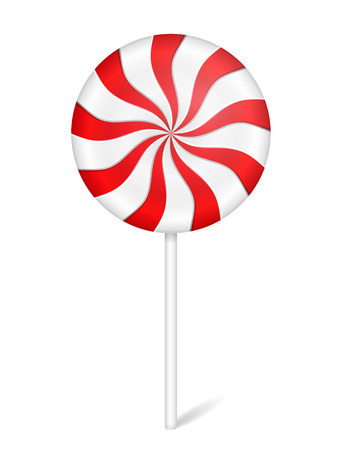 peppermint: Round peppermint candy with stick on white background