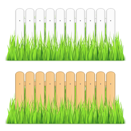 White and brown fences in grass Vector
