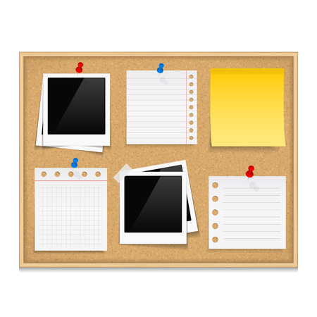 pinboard: Bulletin board with photos and paper notes