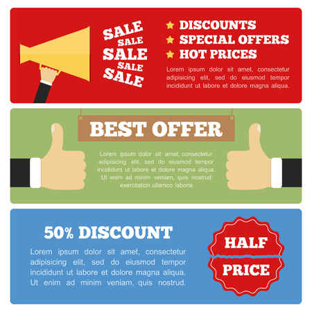 hot announcement: Best offer, half price and sale banners, flat design
