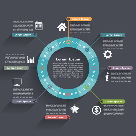 process chart: Circle infographics design template