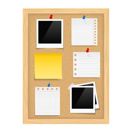 corcho: Tabl�n de anuncios vertical con marcos de fotos y la nota de papel