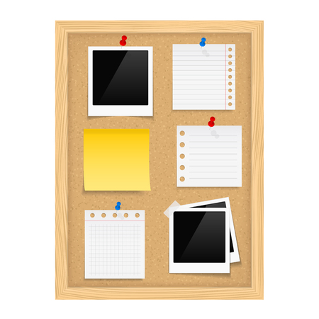 Vertical bulletin board with photo frames and paper note Vector