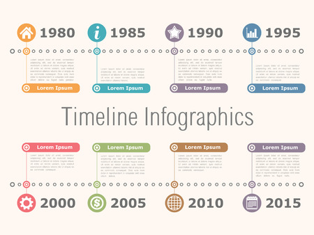 history icon: Horizontal timeline infographics design template