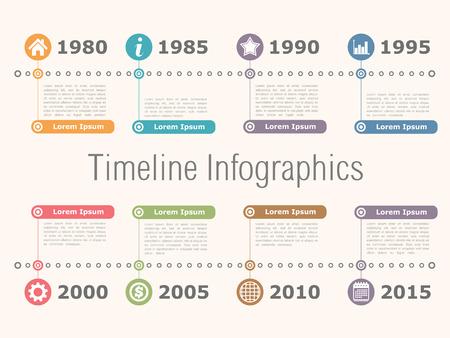 Horizontal timeline infographics design template