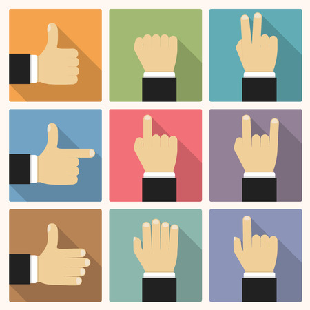 two thumbs up: Hands showing different symbols, flat design Illustration