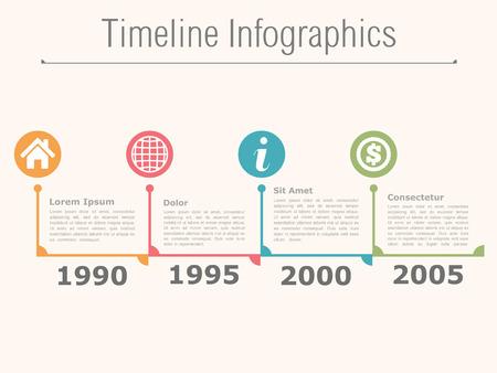Timeline infographics design template Ilustração