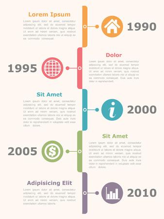 lineas verticales: Cronología Infografía Vectores