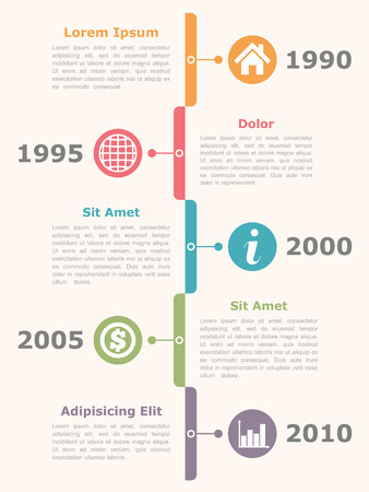 vertical: Cronología Infografía Vectores