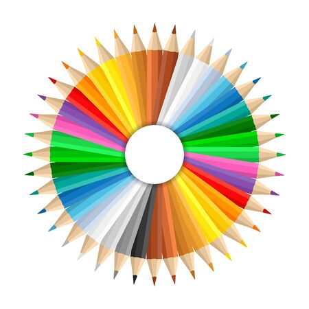 sharpen: Circle made of colored pencils Illustration