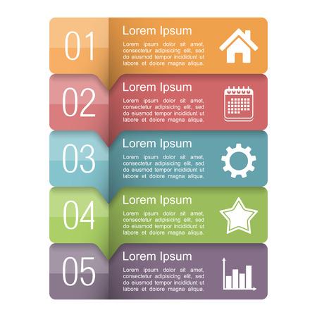 Infographies modèle de conception avec cinq éléments