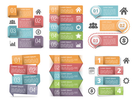 flujo: Elementos de Infografía con los números, los iconos y el lugar de texto Vectores