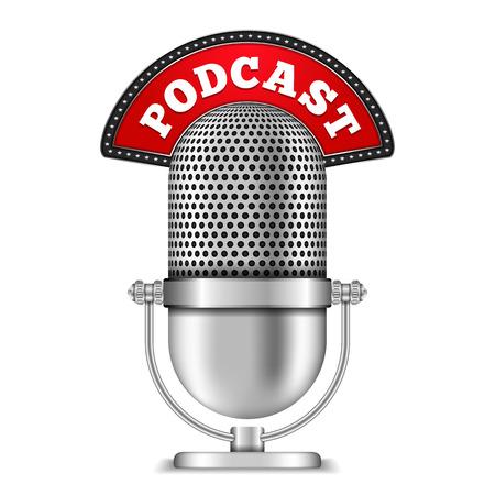 microfono de radio: Micrófono con Podcast Banner