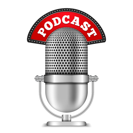 Microphone with Podcast Banner Ilustrace