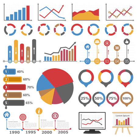 circular flow: Business infographic elements collection, set of different graphs, charts and diagrams Illustration