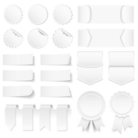 Blank White Price Tags Stickers Labels Banners And Ribbons