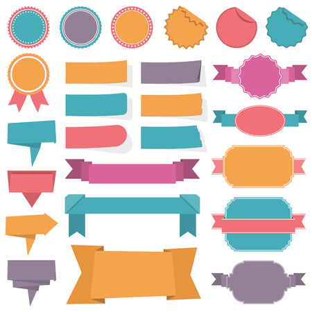 Collection of different labels, banners and ribbons