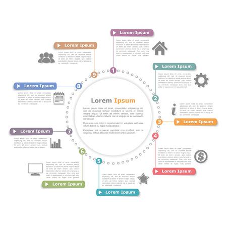 diagrama de procesos: Infografía Círculo plantilla con los números, diagrama de proceso