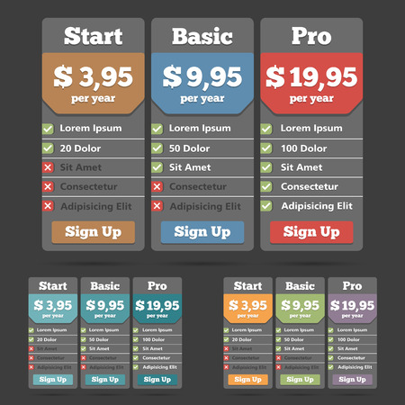 Pricing table template for web Vector