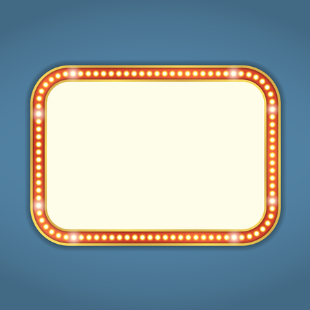 showtime: Blank retro banner with lights Illustration