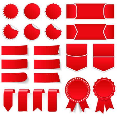 Red price tags, stickers, labels, banners and ribbons
