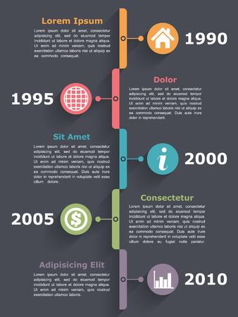 Vertical timeline infographics design template