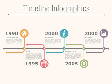 lineas horizontales: Línea de tiempo horizontal plantilla infografía
