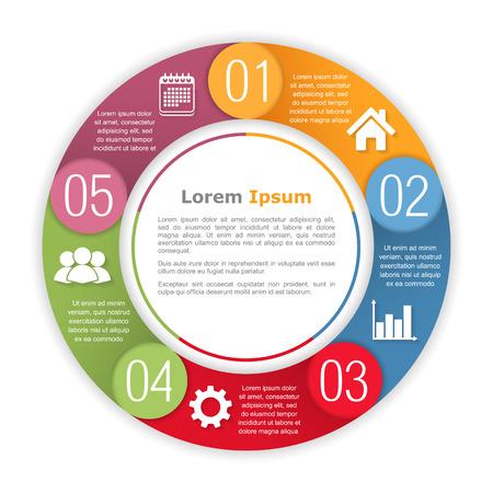 5 つの要素と円のインフォ グラフィック