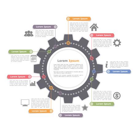 Infografía círculo con engranaje, plantilla de diagrama de proceso